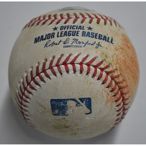 Photo of Game-Used Baseball - MIL vs. PIT - 8/22/2020 - Pitcher - Josh Lindblom, Batter - Colin Moran, Bottom 1, RBI Double