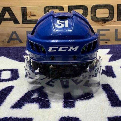 #51 Jake Gardiner Blue Game Worn Helmet (2019 Playoffs)