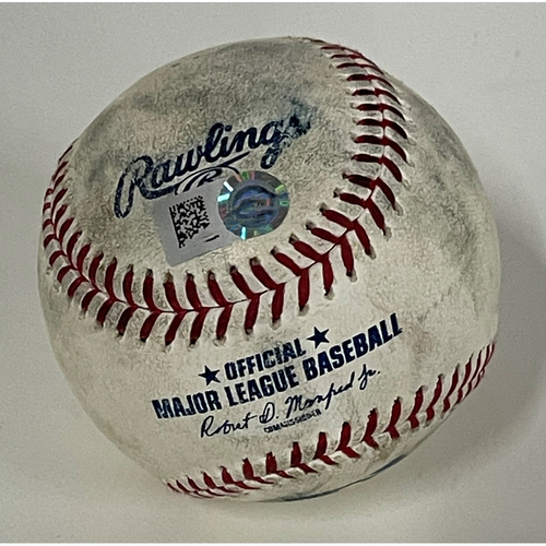 Photo of Game Used Baseball - 4/9/2021 Tigers at Indians - Emmanueal Clase Strikes Out Jeimer Candelario - Next at bat, Miguel Cabrera Groundout
