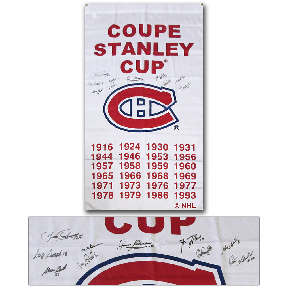 Montreal Canadiens Multi-Signed Stanley Cup Banner - Beliveau, Bowman, Lafleur & More