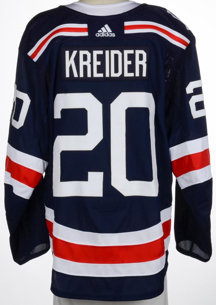 size 40 9a4b0 0fe53 Chris Kreider New York Rangers Player-Issued 2018 NHL Winter ...
