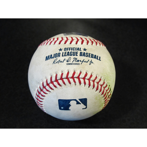 Photo of Game Used Baseball: Carlos Correa Single off James Paxton. SEA-HOU 4/16/2018