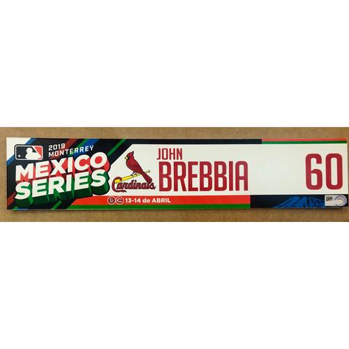 Photo of 2019 Mexico Series - Game Used Locker Tag -John Brebbia -  St. Louis Cardinals