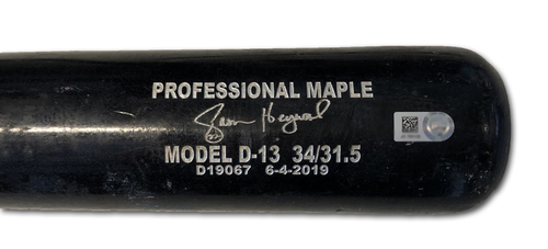 Photo of Jason Heyward Game-Used Cracked Bat -- Robert Gsellman to Jason Heyward, Ground Out, Bot 7 -- Mets vs. Cubs -- 6/20/19