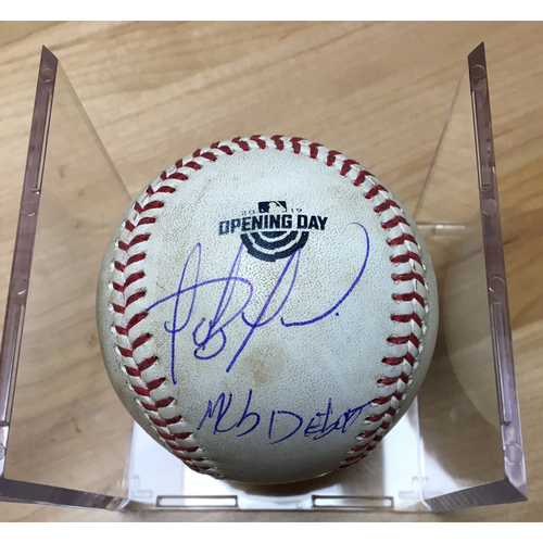 Photo of 2019 Fernando Tatís Jr. MLB Debut Game -  Game Used Autographed Baseball (Fernando Tatís Jr.) -  Batter: Franmil Reyes, Pitcher: Madison Bumgarner, Flyout to RF