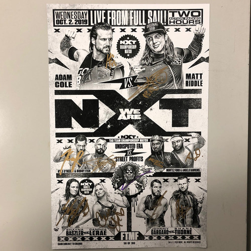 Photo of NXT on USA Network Numbered Match Card Signed by Multiple Superstars
