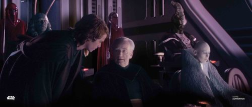 Anakin Skywalker, Chancellor Palpatine and Sly Moore