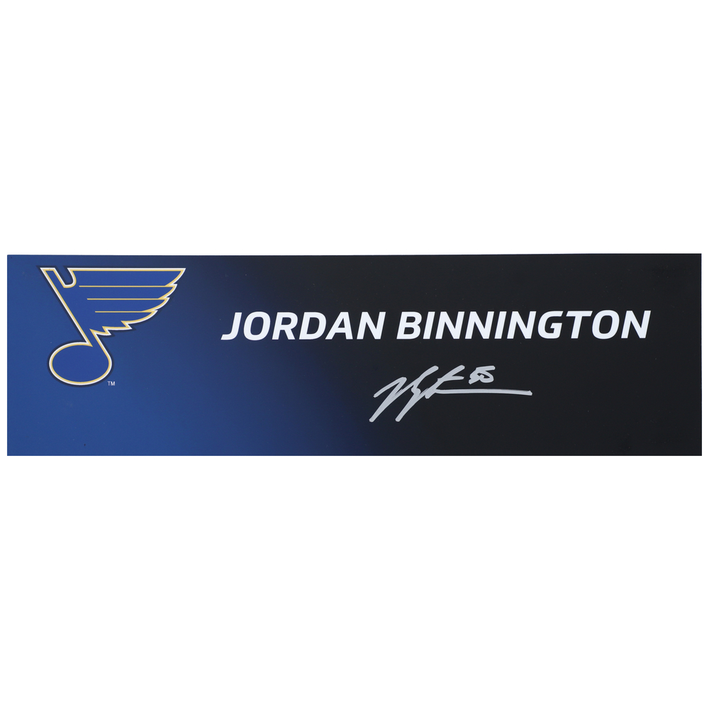Jordan Binnington St. Louis Blues 2019 Stanley Cup Champions Autographed Event-Used Media Name Plate