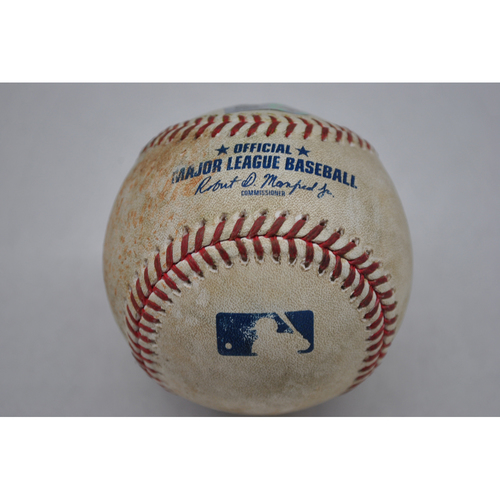 Photo of Game-Used Baseball - MIL at PIT - 7/26/2020 - Pitcher - Bobby Wahl (MIL), Batter - Cole Tucker, Bot 8, Double
