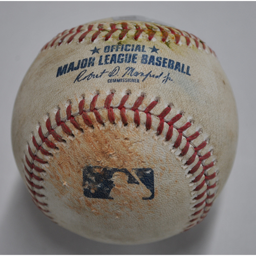 Photo of Game-Used Baseball - MIL vs. PIT - 8/23/2020 - Pitcher - Corbin Burnes, Batter - J.T. Riddle, Bottom 6, Double