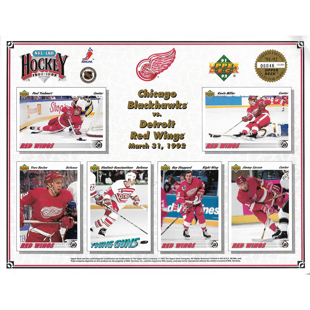 Detroit Red Wings 1991-92 Upper Deck Limited Edition Collector's Sheet