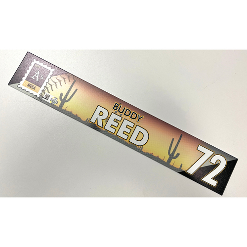 Photo of Game-Used 2021 Spring Training Locker Nameplate - Buddy Reed