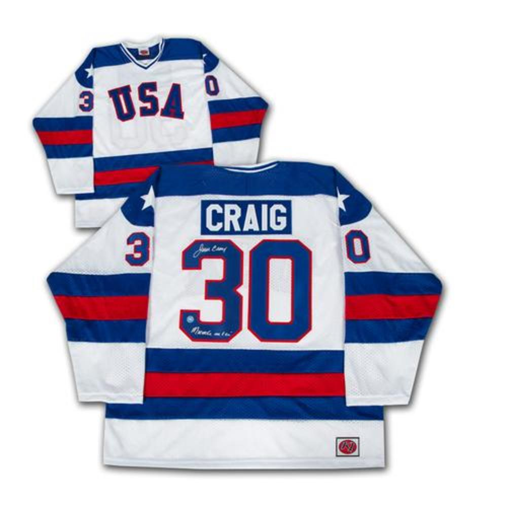 Jim Craig USA Hockey Signed & Inscribed Miracle On Ice 1980 Olympic Jersey