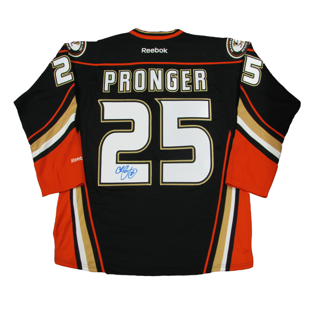 CHRIS PRONGER Signed Anaheim Ducks Black Reebok Jersey