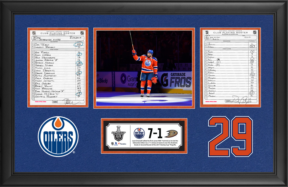 Edmonton Oilers Framed Original Line-Up Cards From May 7, 2017 vs. Anaheim Ducks - Leon Draisaitl's First Career NHL Hat Trick