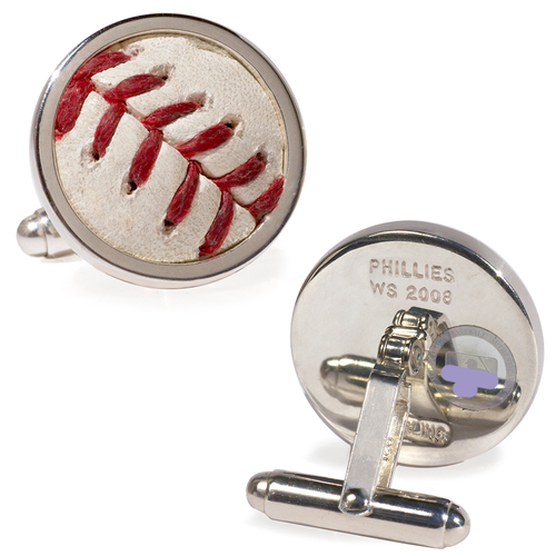 Tokens & Icons Philadelphia Phillies 2008 World Series Game-Used Baseball Cuff Links - Game 2