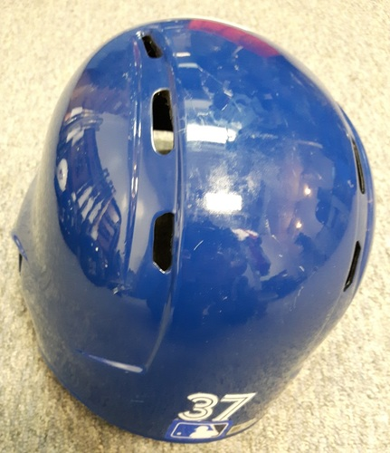 Photo of Authenticated Game Used 2017 Helmet - #37 Teoscar Hernandez. Used for 1st 2 HRs as a Blue Jay. Size 7 3/8.