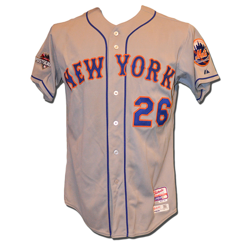 Photo of Tom Goodwin #26 - Game Used Road Grey Jersey - 2015 Postseason Patch - Mets vs. Cubs - 9/15/15