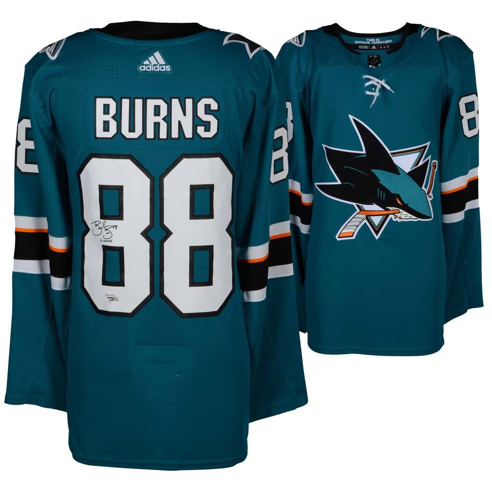 Brent Burns San Jose Sharks Autographed Teal Adidas Authentic Jersey with Burnzie Inscription