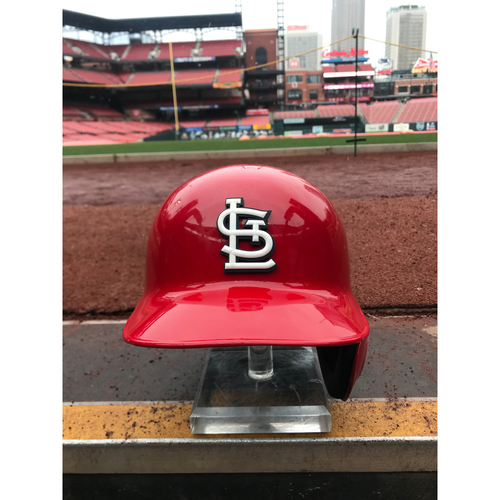 Photo of Cardinals Authentics: Marcell Ozuna 2019 Game Worn Home Red Postseason Helmet
