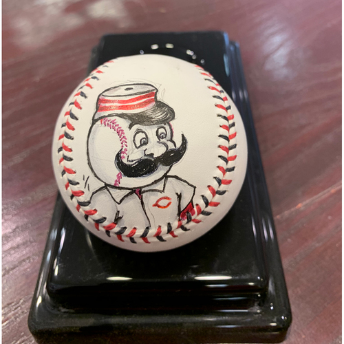Photo of Cincinnati Reds - Mr. Redlegs - Original Ball Art by S. Preston - Autographed by the Artist