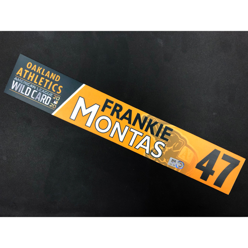 Photo of Game-Used 2020 A.L. Wild Card Locker Nameplate - Frankie Montas