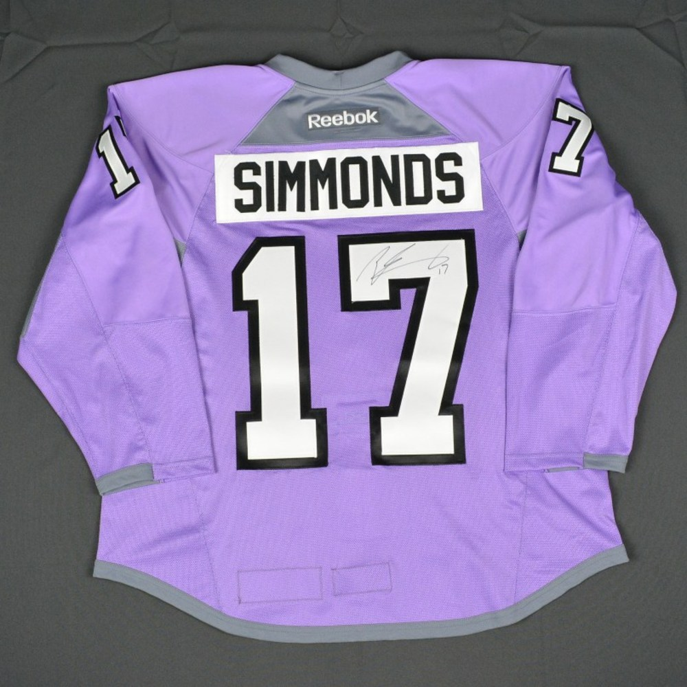646a08766 ... reduced wayne simmonds philadelphia flyers hockey fights cancer warmup  worn autographed jersey w a 34d9d 0c4ad coupon for flyers purple ...