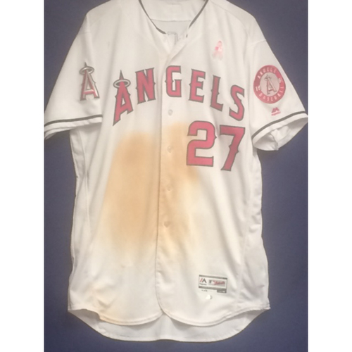 26ab13377 Mike Trout 2017 Game-Used Mother  s Day Home Run Jersey