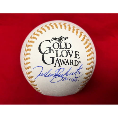 "Photo of Tucker Barnhart -- Autographed Gold Glove Baseball -- Inscribed ""2017 GG"""
