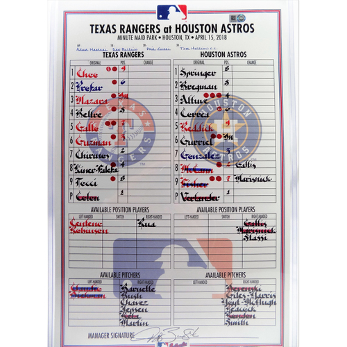 Photo of Game-Used Line Up Card - Texas Rangers vs. Houston Astros - 4/15/18