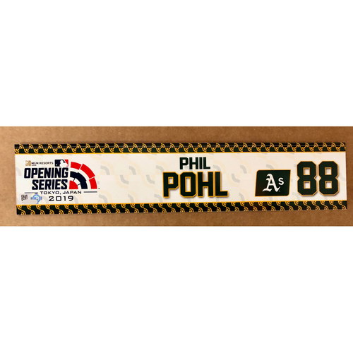 Photo of 2019 Japan Opening Day Series - Game Used Locker Tag - Philip Pohl -  Oakland Athletics