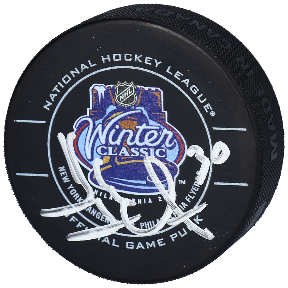 Henrik Lundqvist New York Rangers Autographed 2012 NHL Winter Classic Official Game Puck - NHL Auctions Exclusive
