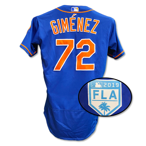 Photo of Andres Gimenez #72 - Game Used Blue Alt. Home Jersey - Mets vs. Astros - 2/24/19 - 2019 Spring Training