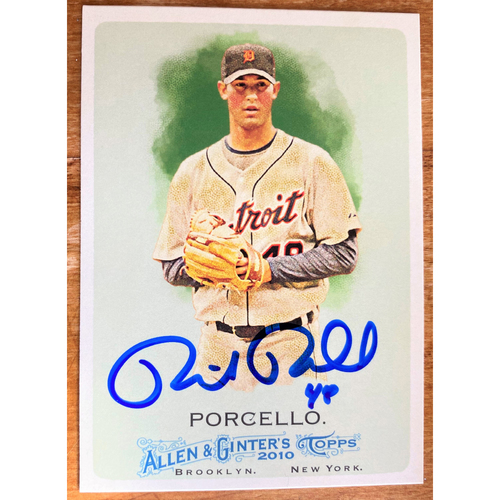Photo of Rick Porcello Autographed Detroit Tigers 2010 Allen & Ginter's Baseball Card (NOT MLB AUTHENTICATED)