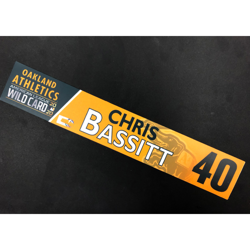 Photo of Game-Used 2020 A.L. Wild Card Locker Nameplate - Chris Bassitt