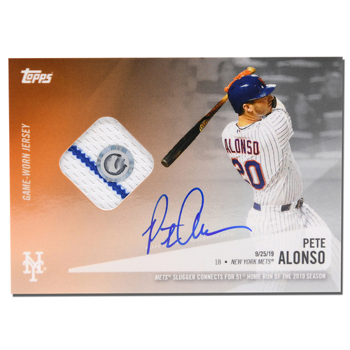 Photo of Pete Alonso #20 - Autographed Topps Card - Features Authenticated Game Used Jersey from 2019 Rookie of the Year Campaign - Alonso Hits 51st HR on 9/25/19