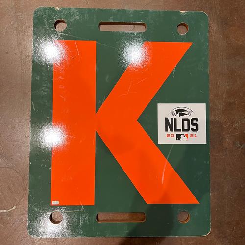 Photo of 2021 NLDS Orange K Board flipped on 10/8 - NLDS Game 1 vs. LAD - T-5: Logan Webb to A.J Pollock - Strike Out Swinging
