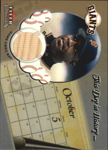 Photo of 2002 Fleer Tradition Update This Day In History Game Used #5 Barry Bonds Bat