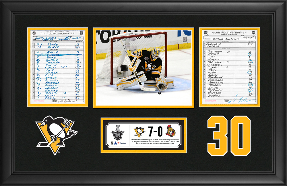 Pittsburgh Penguins Framed Original Line-Up Cards From May 21, 2017 vs. Ottawa Senators - Matt Murray Makes 25 Saves in Game 5 Playoff Shutout