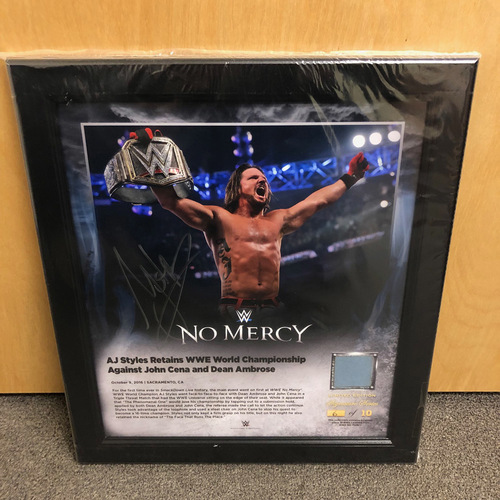 Photo of AJ Styles SIGNED No Mercy 2016 Signature Series Ring Canvas Plaque (#4 of 10)