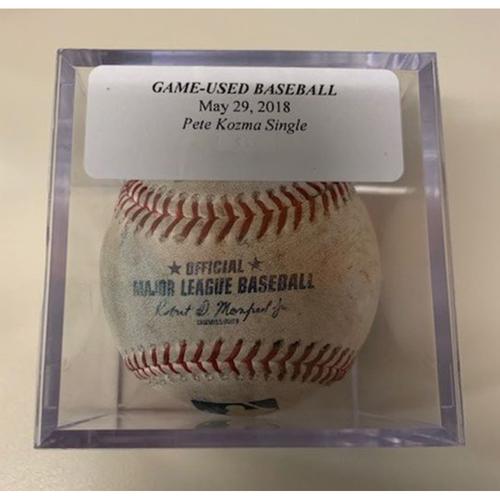 Photo of Game-Used Baseball: Pete Kozma Single