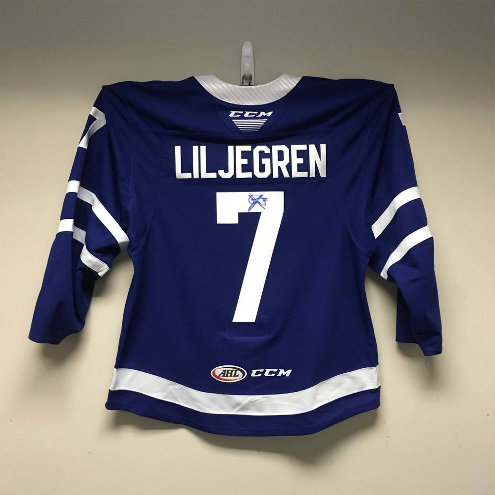 Toronto Marlies Regular Season Jersey worn and signed by #7 Timothy Liljegren