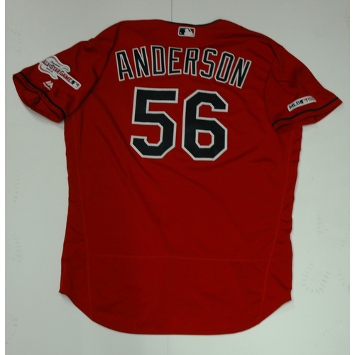 Photo of Cody Anderson Team Issued 2019 Red Home Alternate Jersey