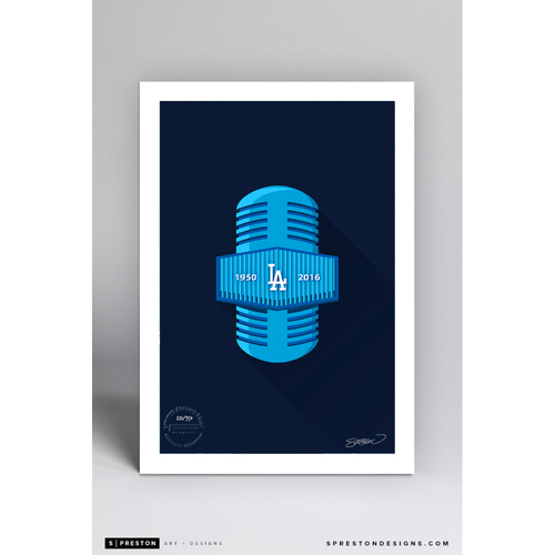 Photo of Limited Edition Vin Scully Minimalist Dodgers Broadcasting Art Print by S. Preston