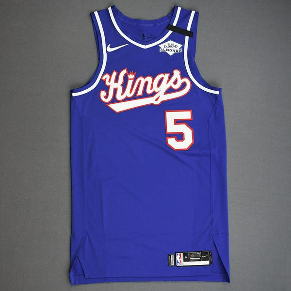 Image of De'Aaron Fox - Sacramento Kings - Game-Worn Classic Edition 1990-94 Road Jersey - Scored 26 Points - 2019-20 NBA Season