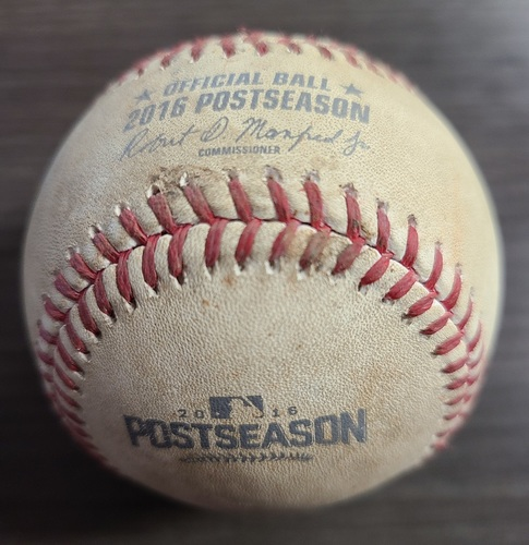 Photo of Authenticated Game Used Postseason Baseball: Foul by Michael Saunders against Zach McAllister (Oct 17, 2016 vs CLE: ALCS Game 3). Bottom 4.