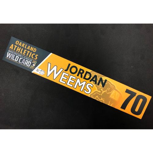 Photo of Team-Issued 2020 A.L. Wild Card Locker Nameplate - Jordan Weems
