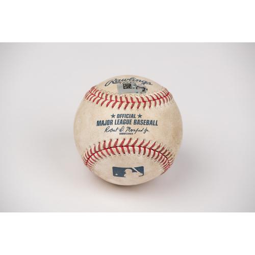 Photo of Game Used Baseball: Pitcher: Trevor Cahill, Batter: Jo Adell - Single - Bot 4 - 8-18-2020 vs. SF