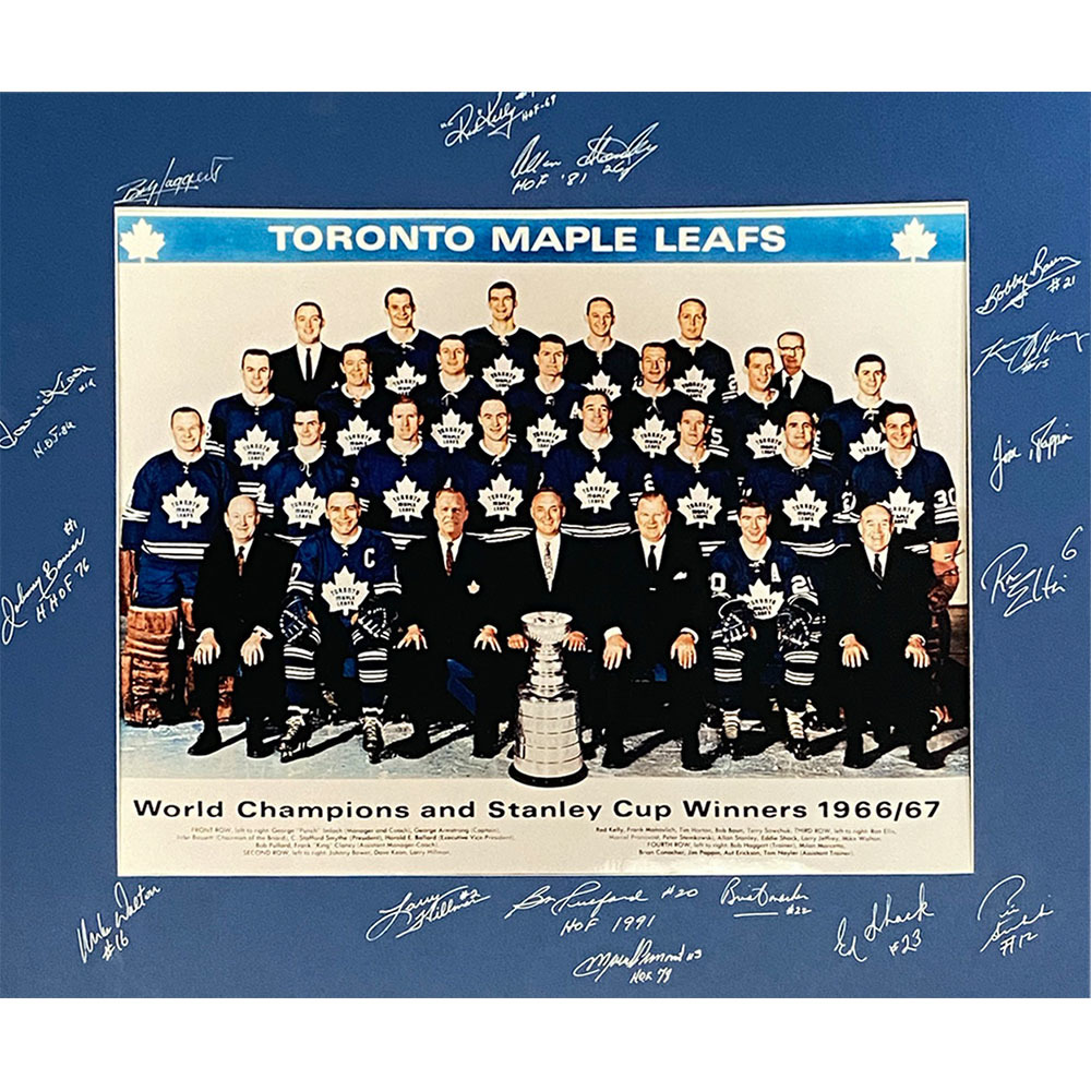 Toronto Maple Leafs Autographed 1967 Stanley Cup Champions 16X20 Matted Photo - 16 Signatures