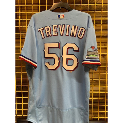 Photo of Jose Trevino Team-Issued 2020 Powder Blue Jersey With Globe Life Field Inaugural Season Patch